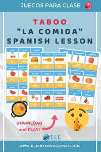 Taboo game for Spanish lesson. Spanish games to work with food vocabulary. #spanishvocabulary