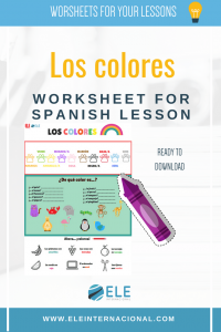 Spanish vocabulary for kids. The colors in Spanish. Resources for Spanish lessons.
