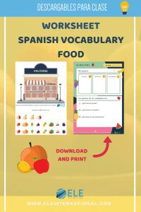 Juegos para hablar de frutas en clases de español. Cuatro actividades para que los alumnos interactúen entre sí utilizando los nombres de las frutas. #spanishteacher #games #materiales