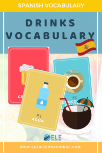 Las bebidas. Vocabulario para clase de español. Tarjetas para imprimir y utilizar en tus clases. #profedeele #spanishteacher
