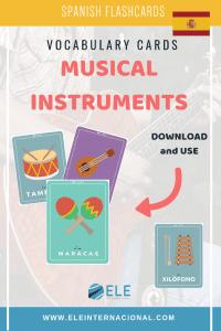 Instrumentos musicales. Tarjetas para trabajar vocabulario. #spanishvocabulary #profedeele