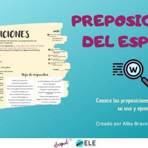 Actividad sobre las preposiciones del español