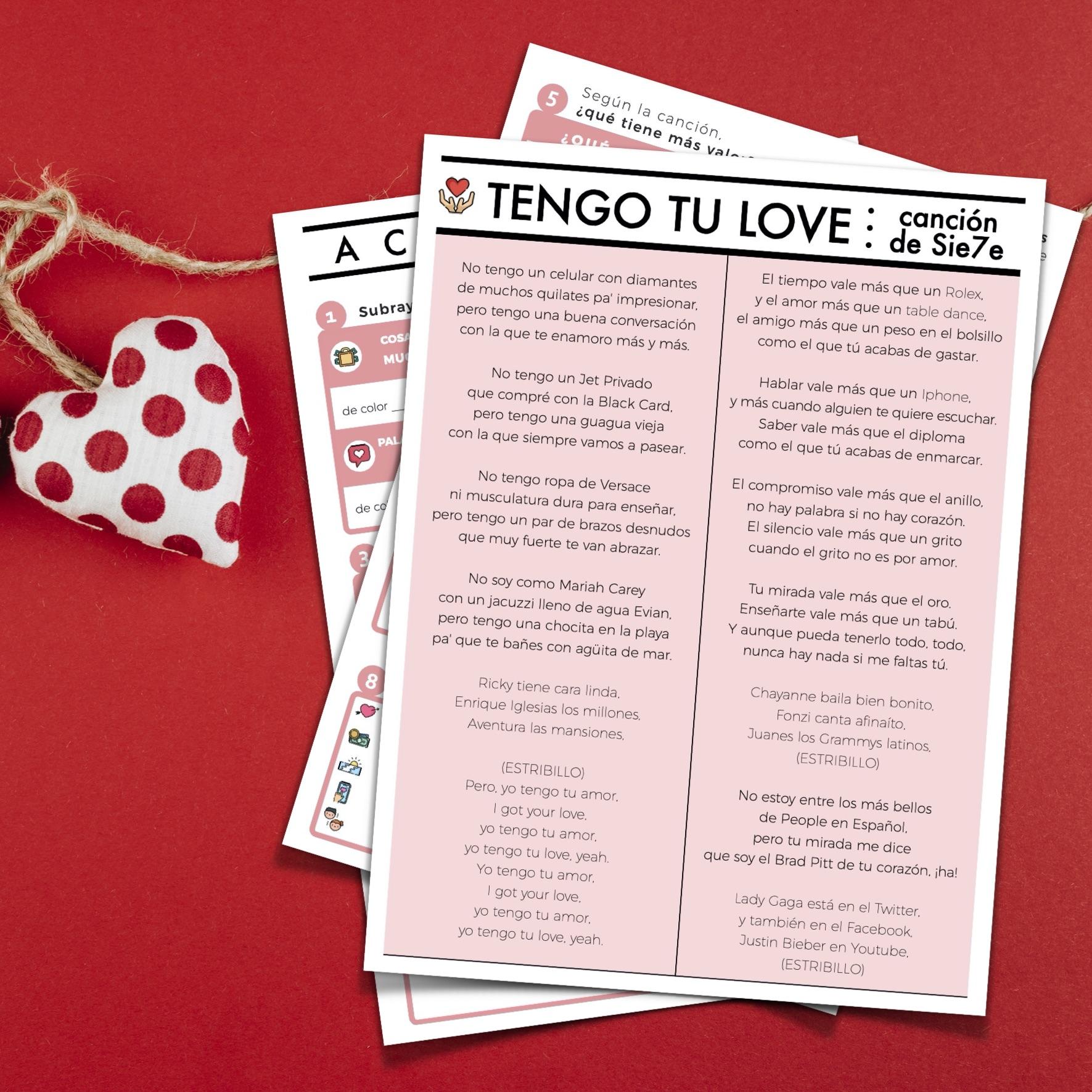 Canción Tengo tu love de Sie7e para clases de español