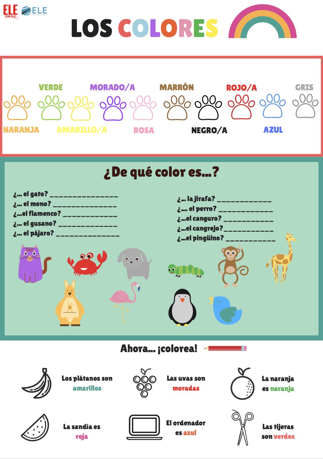 Los colores en clase de ELE para niños [MATERIAL COMPLETO]