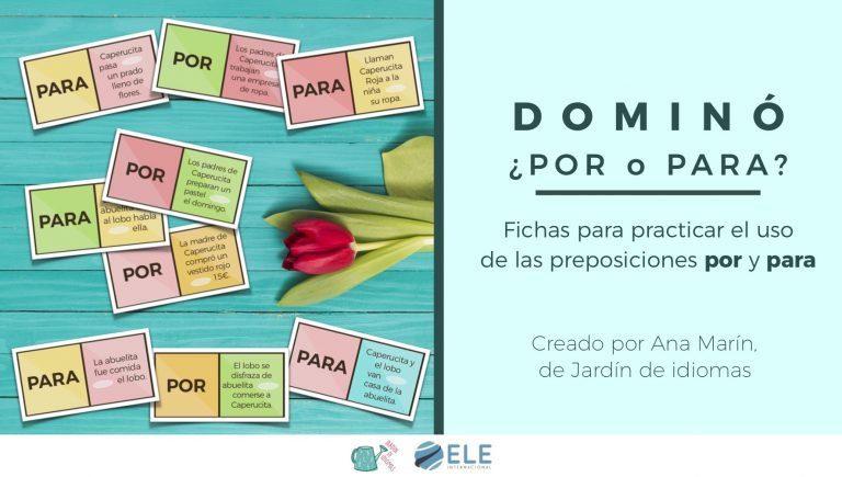 Juego de dominó para clase de español. Profe de ELE, gamificar. #spanishteacher Games for Spanish lessons. #profedeELE