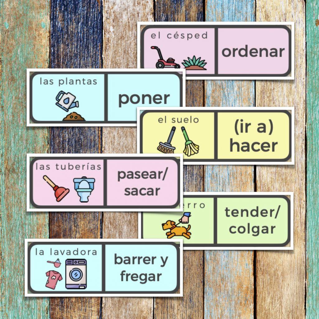 Fichas de dominó sobre tareas domésticas en español