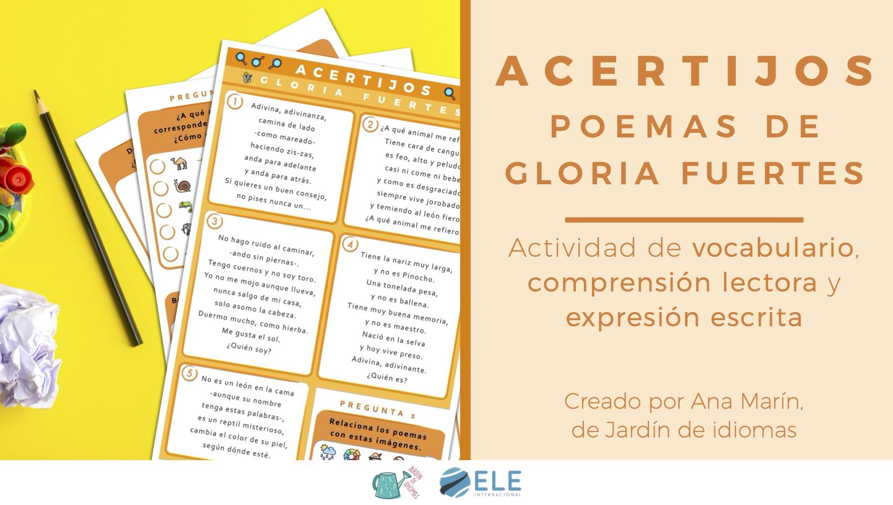 Actividad acertijos y poemas de animales de Gloria Fuertes