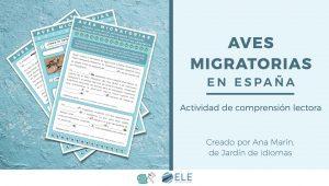 Actividad de comprensión lectora sobre las aves migratorias en España