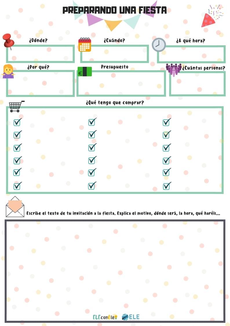 Planear una fiesta [MATERIAL COMPLETO]