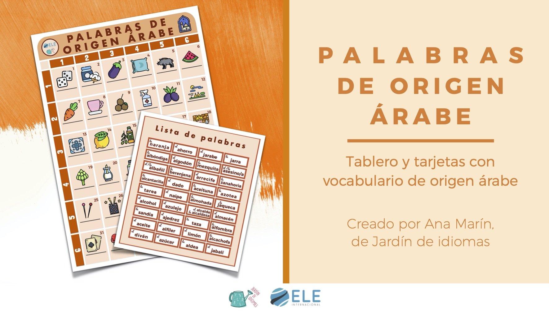 Tablero con palabras españolas de origen árabe