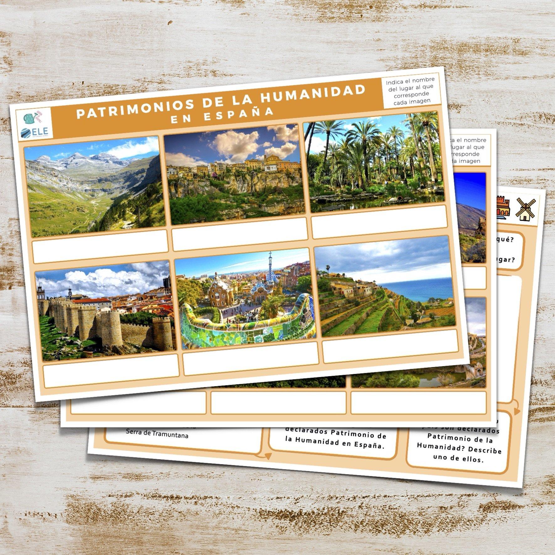 Actividad sobre lugares declarados Patrimonio de la Humanidad en España para clase de ELE