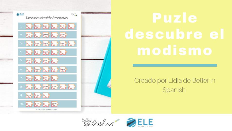 Enseña modismos en clase de español con este puzle ideal para descubrirlos. #activity #spanishteacher