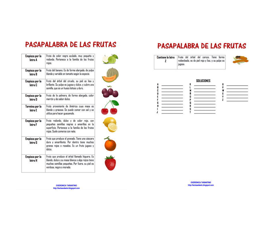 Pasapalabra de la fruta [MATERIAL COMPLETO]