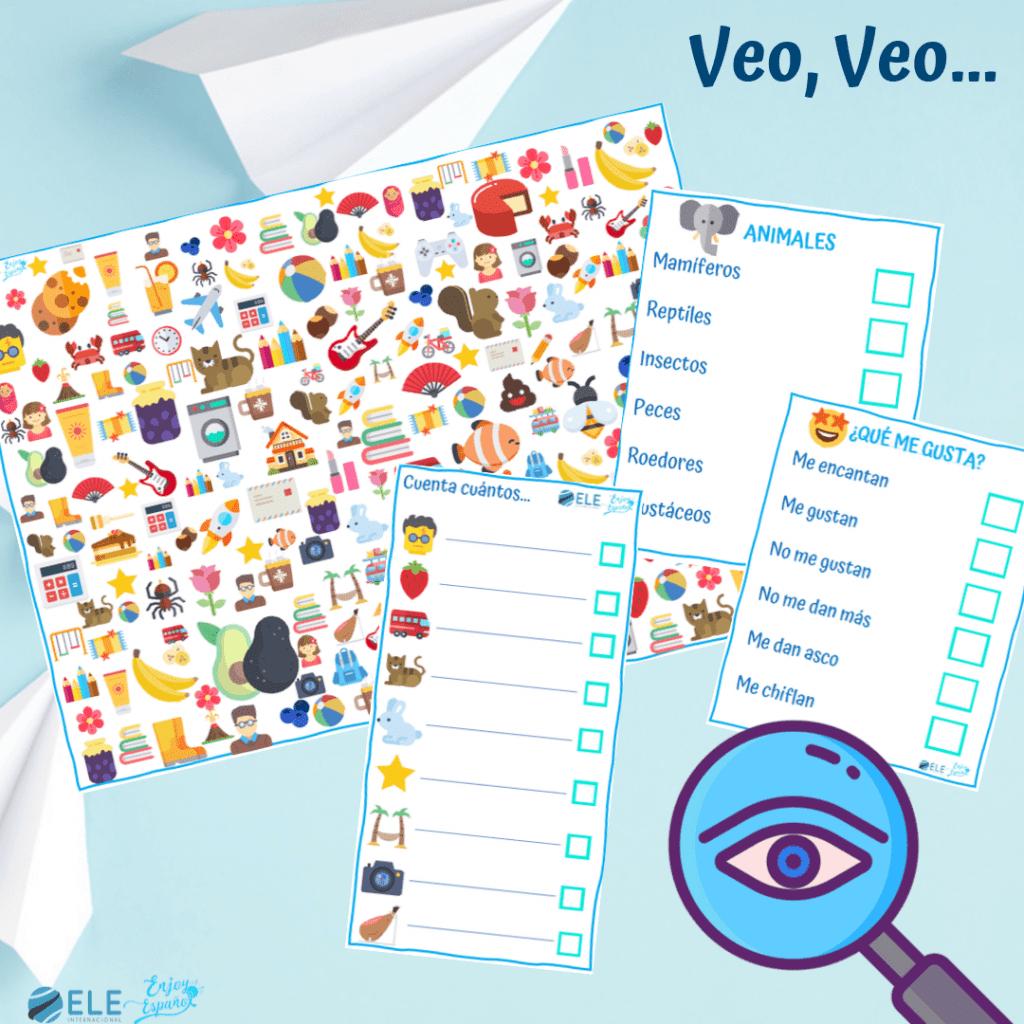 Juegos ELE niños. Juego para mejorar la destreza visual y trabajar con vocabulario. Actividades para clase de ELE
