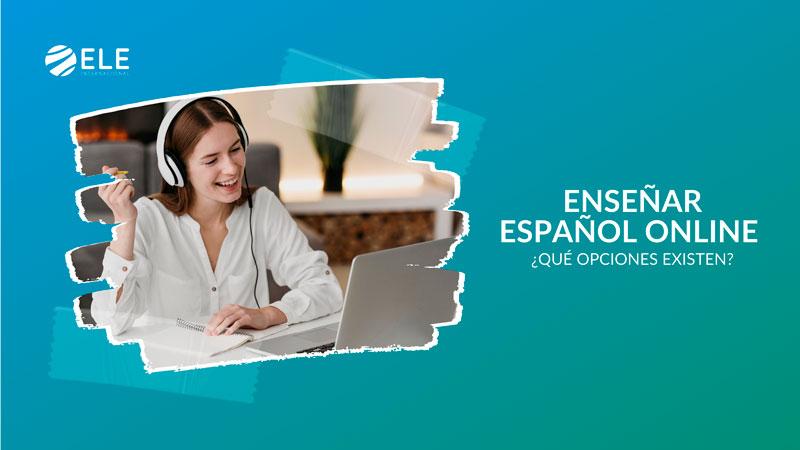 Profesora que enseña español online a través de Internet desde su casa