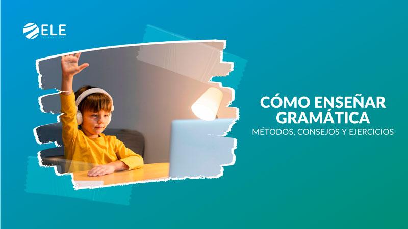Niño aprendiendo gramática de español en clase de ELE
