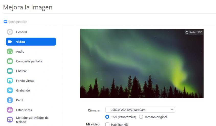 Opción para mejorar la imagen de la cámara web