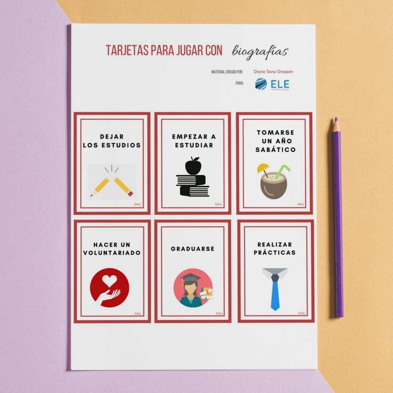 Tarjetas para jugar con biografías [MATERIAL COMPLETO]