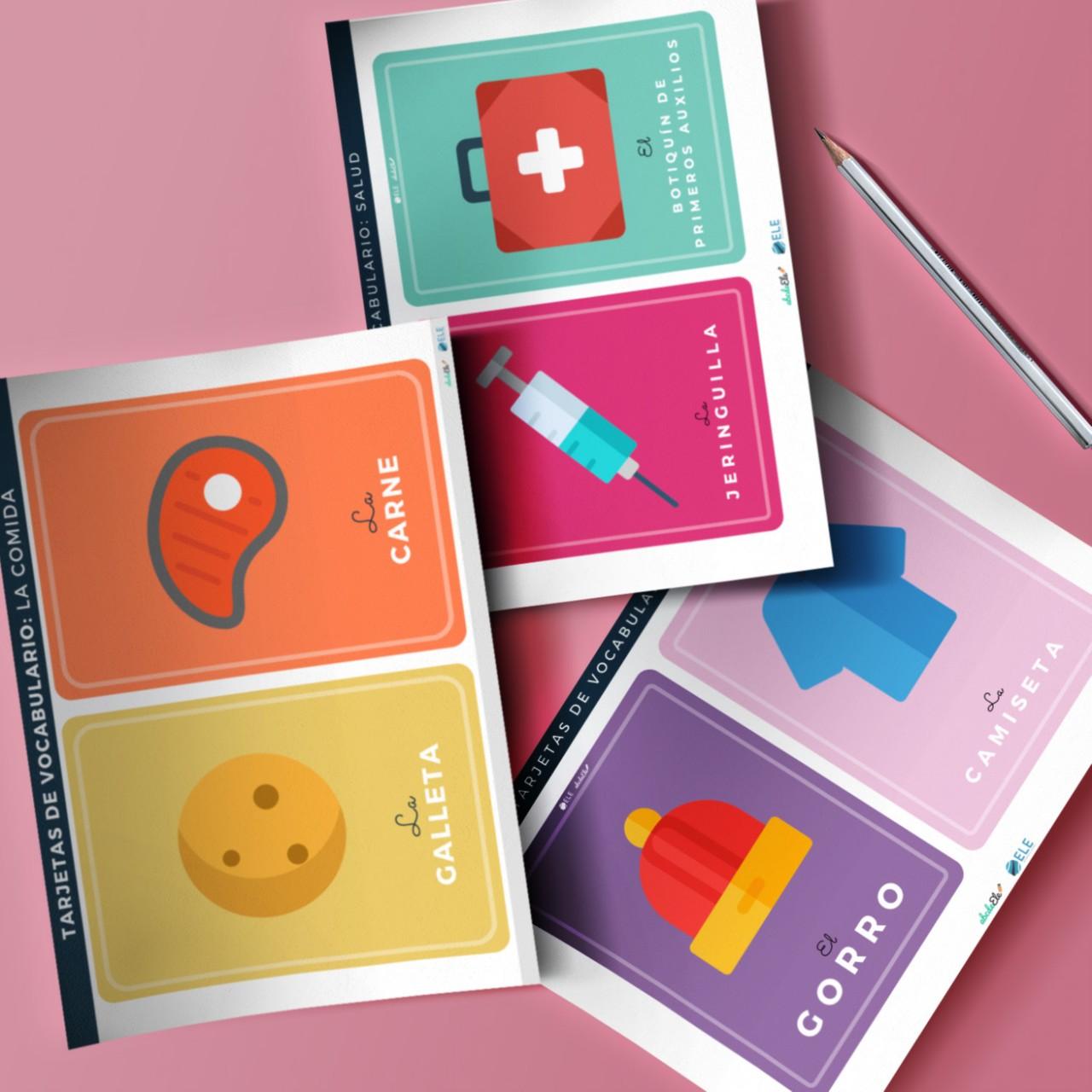Pack con tarjetas de vocabulario