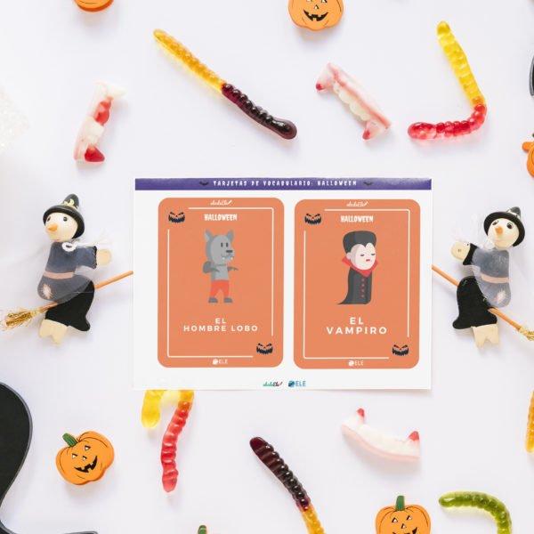 tarjetas de vocabulario de Halloween
